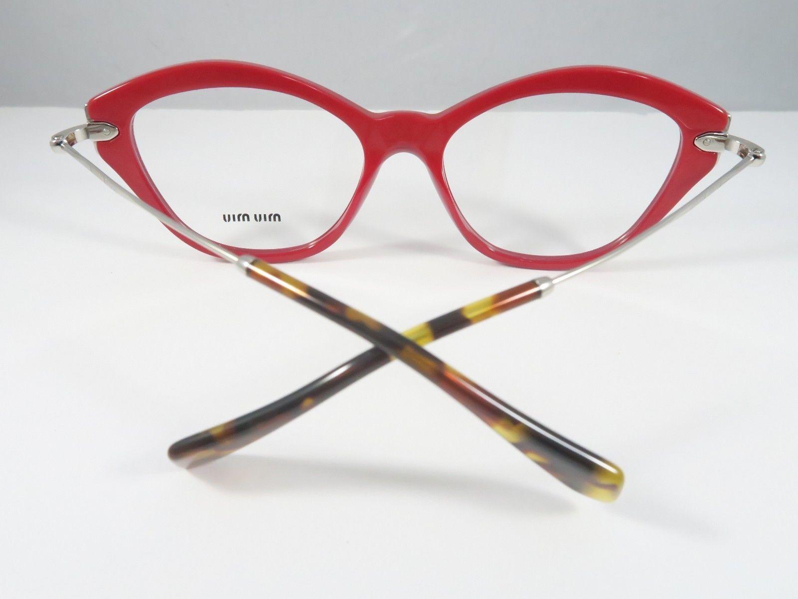 3e7e49833f72 Miu Miu VMU 02O UA4-1O1 Red   Silver   Havana New Authentic Eyeglasses 52mm