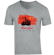 Shanghai- CHINA - NEW COTTON GREY V-NECK TSHIRT - $20.70