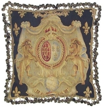 "New Aubusson Throw Pillow 22""x22\"" Royal Orb Lions Handwoven - $369.00"
