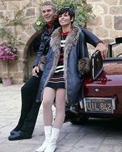 Steve McQueen posing by his Ferrari16x20 Canvas75 sports car & wife Neile Adams  - $69.99