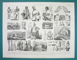 ETHNOGRAPHY Natives of Peru Inkas Sculptures Art Indians - 1870s Antique... - $17.96