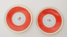 Oranage and White petite saucers made in germany two saucers - $0.98