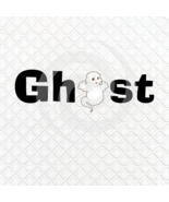 Ghost Font 3smp-Digital ClipArt-Gift Tag-T shirt-Jewelry-Holiday-Halloween - $2.50