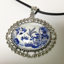 Beautiful, Rare 2.25in x 1.75in Blue Willow Pendant 18-20in Cord Necklace - $23.70