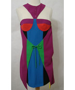 VERSUS VERSACE Runway Dress Multi-Colored Block Cut Out Wrap 2 NWT Orig ... - $629.99