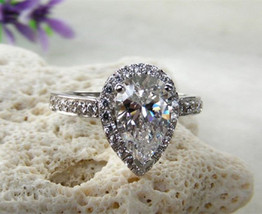 Certified 2.75Ct White Pear Cut Diamond Engagement Ring in Solid 14K Whi... - $271.77
