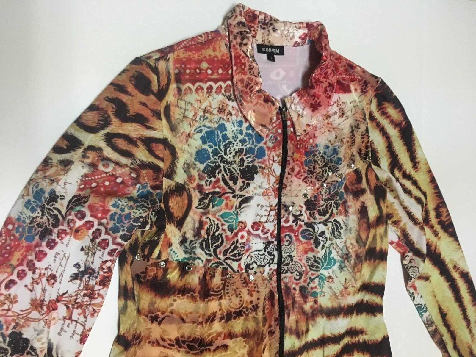 Women's Cubism Light Jacket Shirt NWT SZ L Multi-Design Zipper Front USA