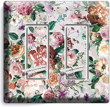 Victorian Floral Pattern Roses Peonies 2 Gfci Light Switch Wall Plate Room Decor - $11.69