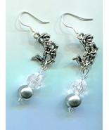 dancing skeleton earrings day of the dead skull jewelry pearl bead drop ... - $4.99