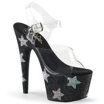 "PLEASER 7"" Heel Black Glitter Platform Rhinestone Stars Ankle Strap Wome... - $74.95"