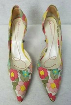 Anne Klein Women's Shoes Heels Pointed Toe D'Orsay Floral Pink Blue Green 7.5M - $42.10