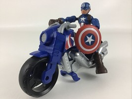 Marvel Captain America Motorcycle Action Figure 2pc Lot Superhero 2018 H... - $22.23