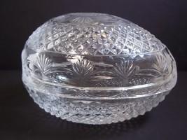 Fostoria for Avon crystal egg shaped soap dish trinket box 1977 Easter - $10.99