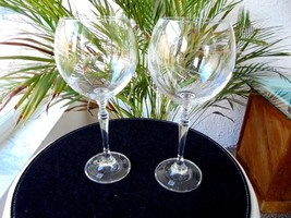 Set of 2 High Quality Clear Crystal Balloon Wine Glasses Signed - $23.76