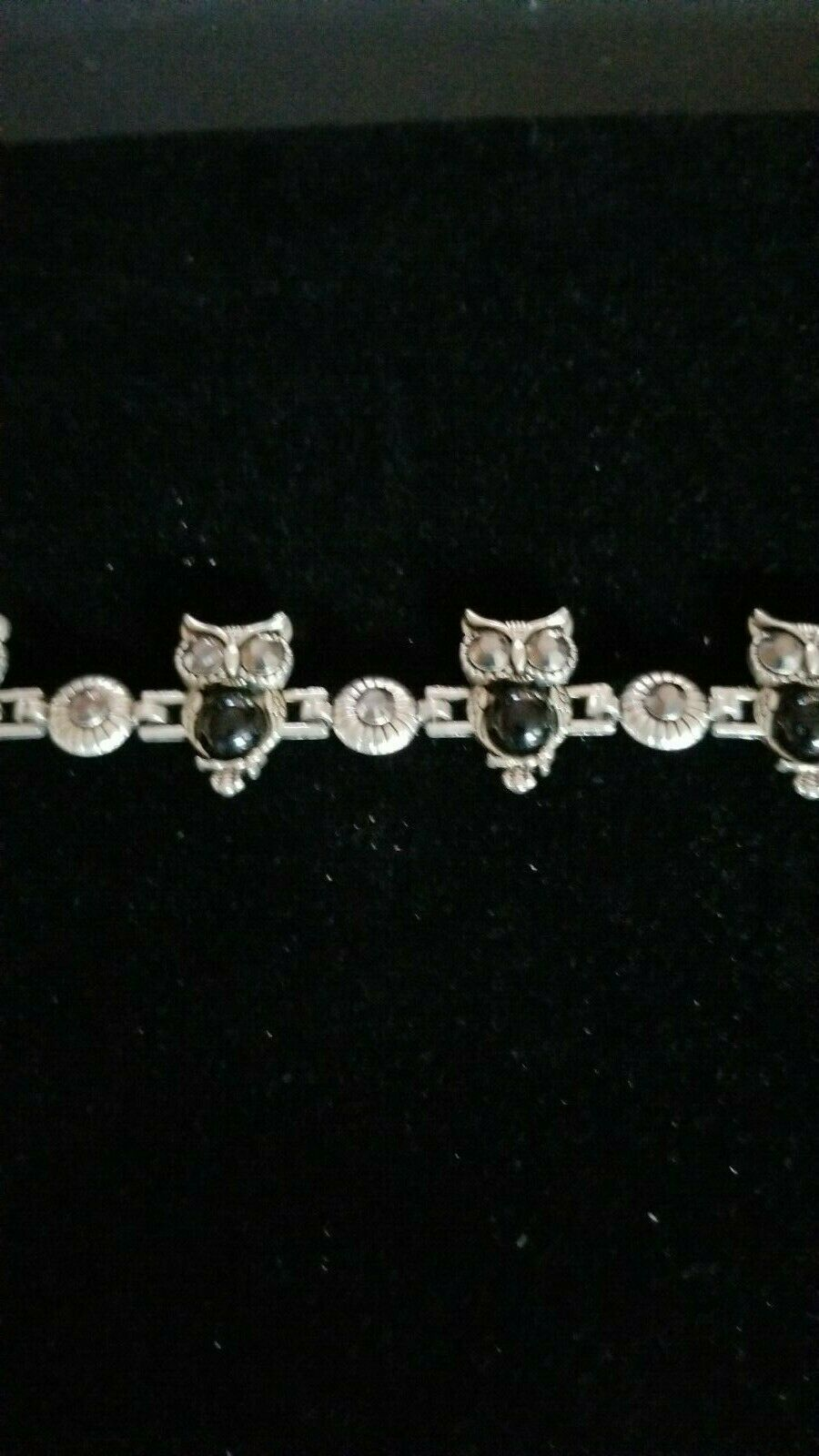 Primary image for MULTI OWL CHARM 7 INCH SILVER ETCHED  BRACELET