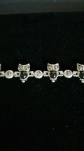 MULTI OWL CHARM 7 INCH SILVER ETCHED  BRACELET - $9.89