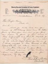 U.S. Rock Island Lumber & Coal Comapny of Davenport Logo 1907 Letter Ref... - $9.90
