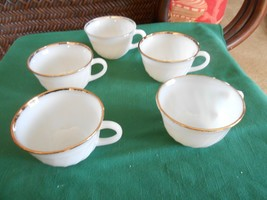 "Great FIRE KING ""Swirl"" Gold Trim- Set of 4 CUPS & 1 FREE Cup - $9.49"