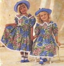 1990s Vintage McCalls Sewing Pattern 6473 Girls Dress Mousefeathers Eyel... - $6.95