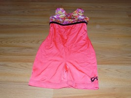 Child Size Large GK Elite Coral Pink Floral Dance Gymnastics Unitard Leo... - $18.00