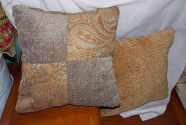 Pair of Gold Taupe Paisley Patchwork Print Throw Pillows  16 x 16 - $49.95