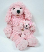 BUILD A BEAR PINK FRENCH POODLE PLUSH DOG & MINI PUPPY SET STUFFED ANIMA... - $29.69