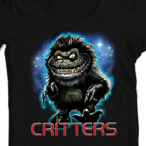 Critters T-shirt retro 80's horror movie free shipping  black 100% cotton tee image 1
