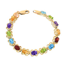 14K Yellow Gold Multicolor Gemstone Bracelet - $711.81