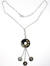 Necklace Silver 925, Chain Balls, Flower, Hearts, Discs Hanging, Bicolor image 2