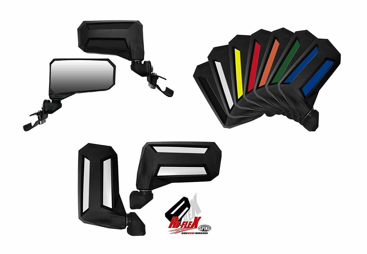 Spike Wide View Side Folding Mirror Set (2) Pro Fit Cage Mount Polaris/ Can AM