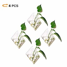 Pack of 4 Diamond Wall Hanging Clear Glass Terrariums For Planter - Heat... - $22.58