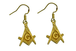 New Masonic Mason 24K Yellow Gold plated over Sterling Silver Earrings Jewelry - $29.69