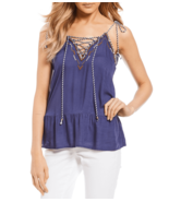 Jessica Simpson Tank Top Lace Up Blue Cobalt Peplum Shirt Sleeveless Wom... - $49.01