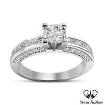 Diamond White Gold Plated Engagement Solitaire With Accents Sterling Sil... - £59.40 GBP