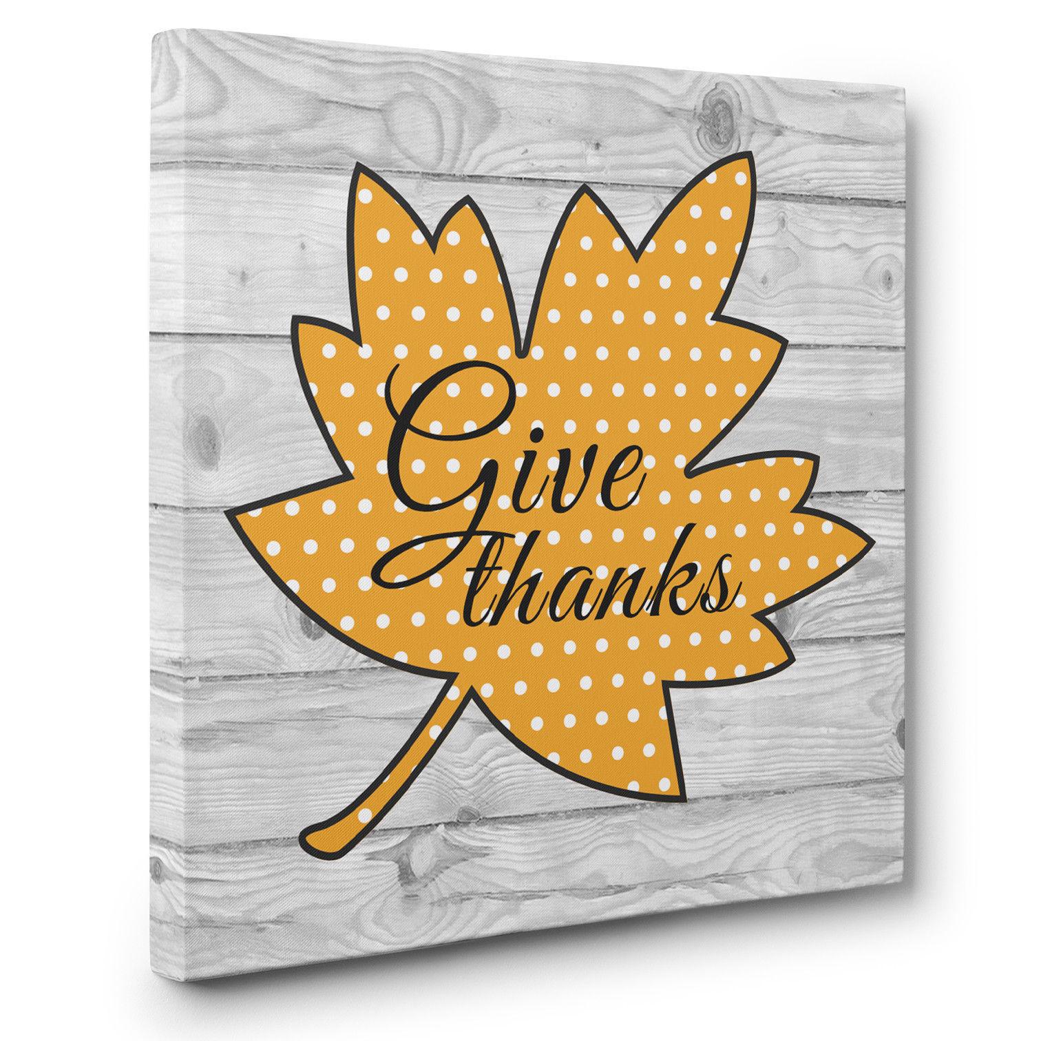 Give Thanks Leaf Autumn CANVAS Wall Art Décor and 50 similar items