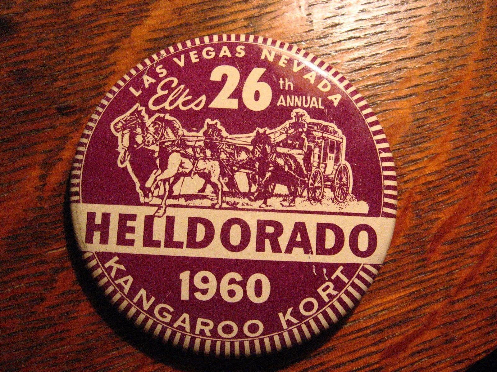 Elks Club Vintage Lapel Pin - 1960 Las Vegas Nevada USA HellDorado Kangaroo Kort image 2