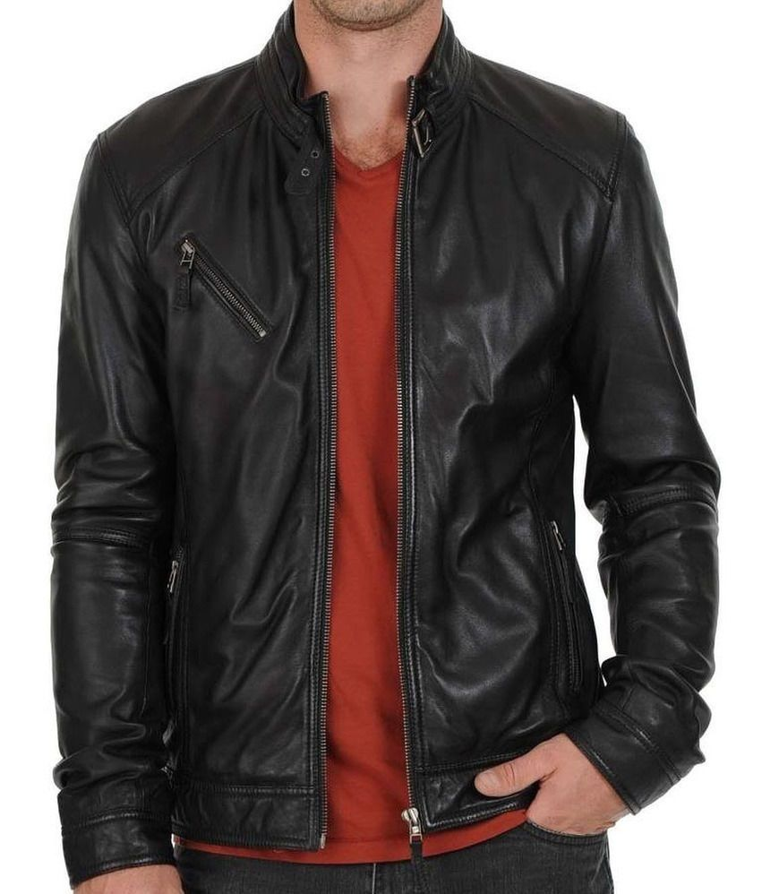 New Men's Stylish Lambskin Genuine Leather Motorcycle Biker Slim Fit Jacket GN10