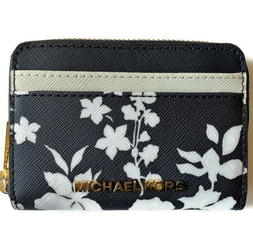 486383f9147d 12. 12. Previous. Michael Kors Back Pocket Carryall Mini Wallet Card Case  Navy Floral Leather NWT