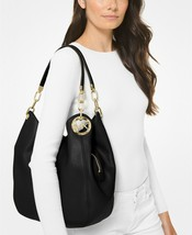 Michael Kors 38F0G0LE3L Lilllie Large Chain Leather Shoulder Tote in Bla... - $319.00