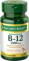3 Bottles - Nature's Bounty B-12 Quick Dissolve - 2500mcg - 75 Tablets Ea Bottle - $21.99