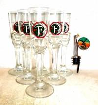 6 Fernet Branca Mailand Italian Shot Glasses & Bottle Pourer in Box - $39.95