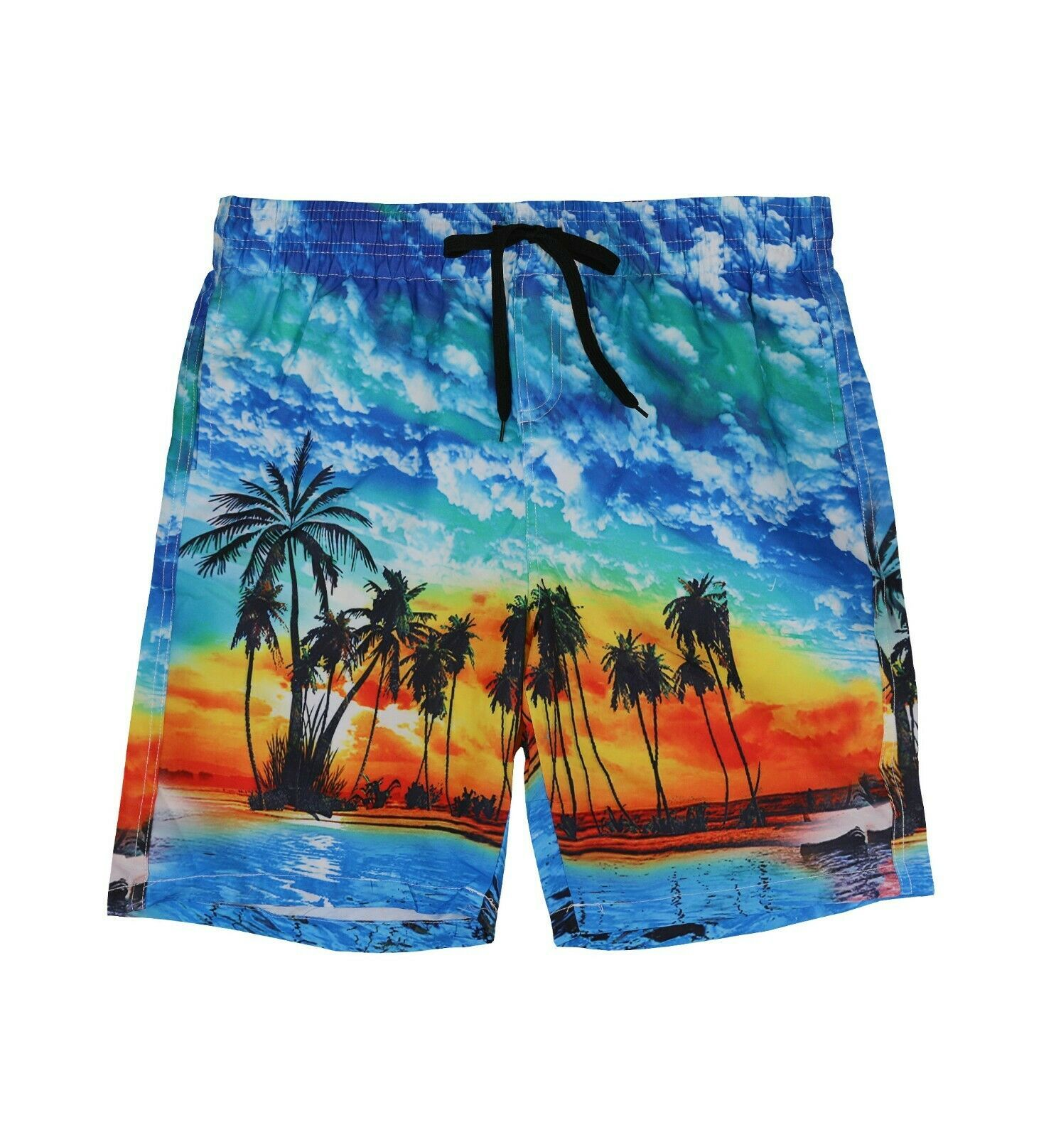 Boys Swim Trunks Summer Beachwear Hawaiian Palm Tree Long Kids Board Shorts - L+