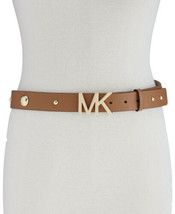 Michael Kors Womens Studded Pebble Leather Belt  (Brown, XS) - $58.00