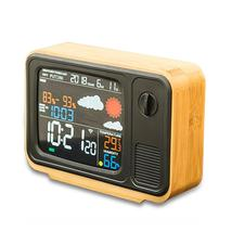 Digital USB Wifi Weather Forecast Station Desk Bamboo Alarm Clock Temper... - $87.59