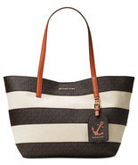 NWT Michael Kors Brown Monogram Orange Leather Stripe Large Illustration... - €146,16 EUR