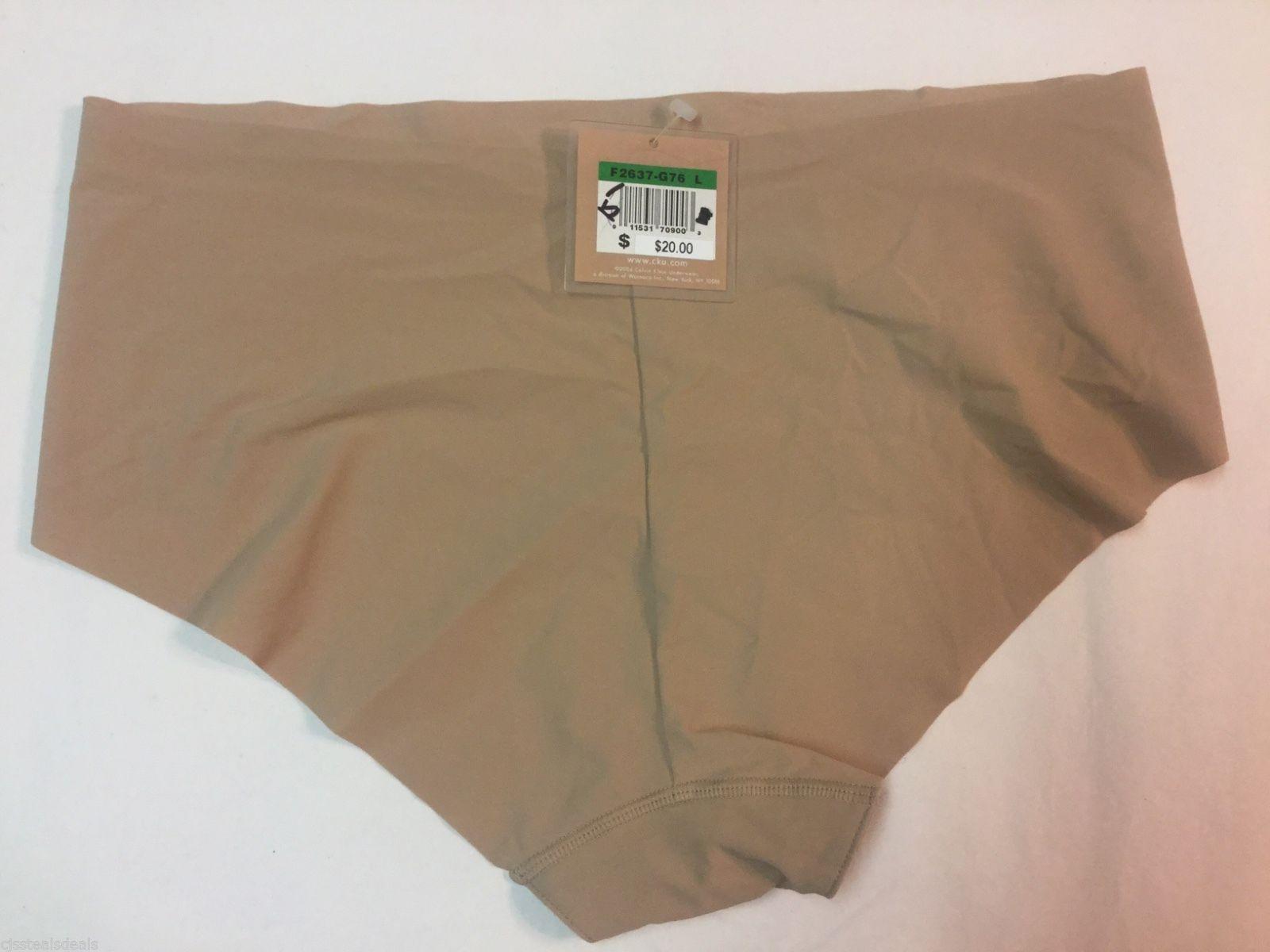 Calvin Klein Women's Beige Naked Hipster Panty Large L F2637-G76