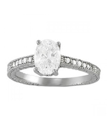 Oval Shape Diamond Solitaire With Accents Wedding Ring 14k White Gold 925 Silver - $73.65