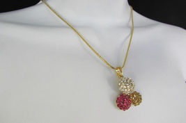 Damen Kurze Modische Halskette Metall 3 Bälle Silber Gold Strass Anhänger Bling image 9