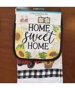 Sunflower Kitchen Set, 4-piece, Towels Pot Holders, Red Truck farmhouse ... - £10.86 GBP