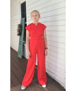 70s Red Jumpsuit Zip Up Vintage Sleeveless XS S M - $39.00